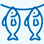 Rich processing fish products series icon