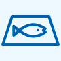 Strict management of fish processing icon